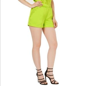 Guess Dress Shorts Neon Lime Lace Satin Pockets